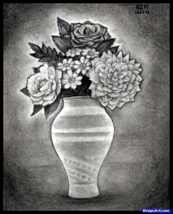 Best Flower Vase Pencil Shading for Beginners Pencil Drawing Of Flower Vase With Flowers Pencils Sketches Of Photo