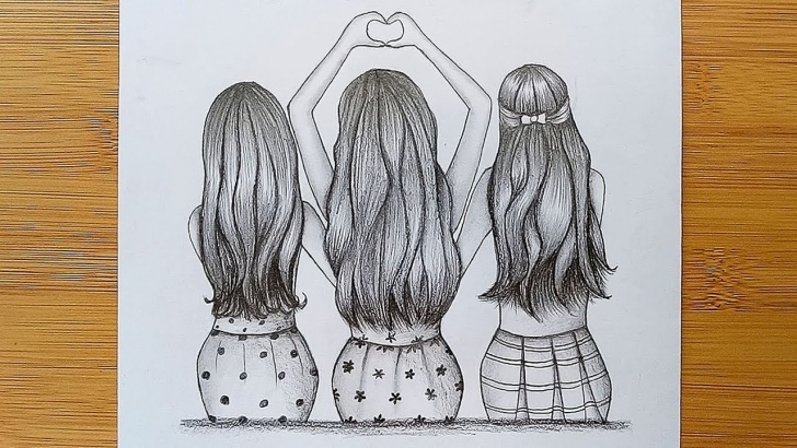 Best Friendship Day Pencil Drawings Techniques Best Friends Tutorial With Pencil Sketch//how To Draw Three Friends Hugging  Each Other Pics