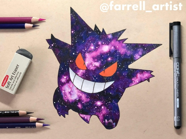 Best Galaxy Drawing Pencil Courses My Galaxy Gengar Drawing Done With Prismacolor Pencils On Toned Tan Pics