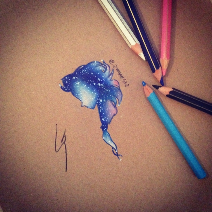 Best Galaxy Drawings With Colored Pencils Easy How To Draw Galaxy Elsa With Colored Pencil! By Sgalia Giuseppe Picture