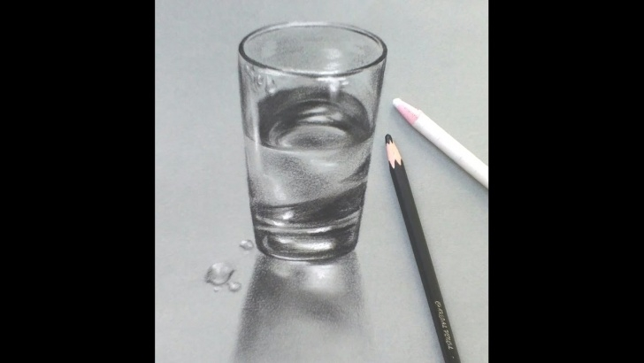 Best Glass Pencil Drawing Tutorial How To Draw A Realistic Glass Of Water Very Easily/ Pencil Sketch Tutorial  02 Pictures