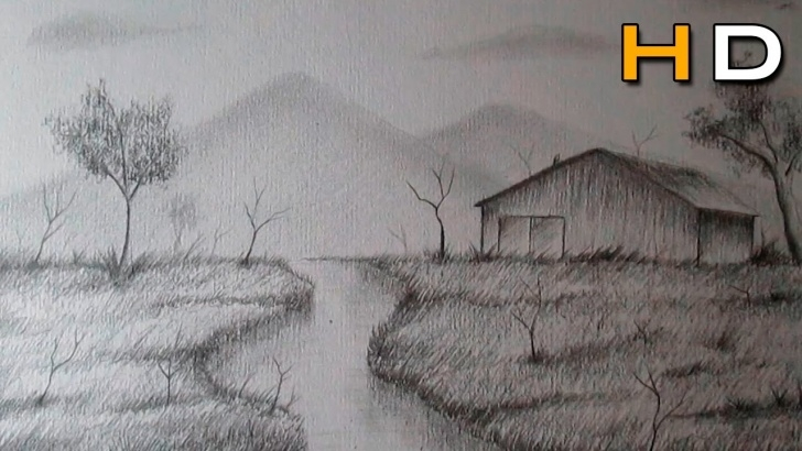 Best Landscape Drawing For Beginners Easy How To Draw A Landscape With Pencil Step By Step For Beginners - Timelapse Picture