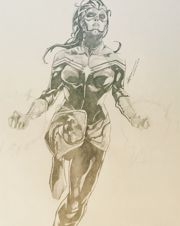 Best Marvel Pencil Drawings Tutorials Captain Marvel Pencil Sketch : Drawing Picture
