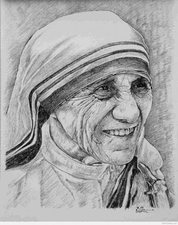 Best Mother Teresa Pencil Drawing for Beginners Pencil Drawing Of Mother Teresa Sketch Of Mother Teresa Drawing Pics