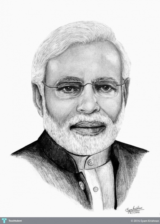 Best Narendra Modi Pencil Sketch Lessons Shri Narendra Modi. Pencil Drawing | Touchtalent - For Everything Photo