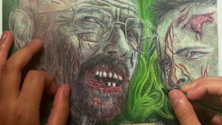 "Best Pen And Colored Pencil Drawings Easy ""breaking Dead"" Drawing Ballpoint Pen / Color Pencils Photos"