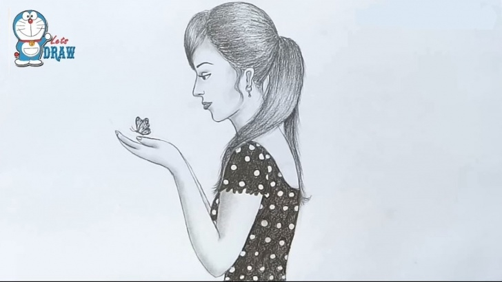 Best Pencil Art For Beginners Simple Girl With Butterfly Drawing For Beginners / Pencil Sketch Pictures
