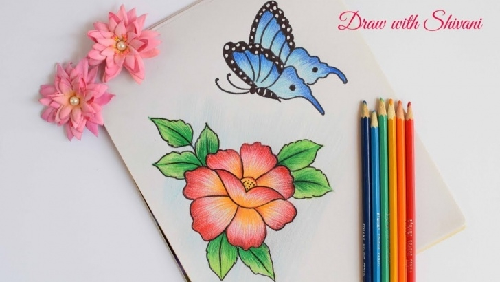 Best Pencil Drawings Of Flowers And Butterflies With Colours Tutorial How To Draw Butterfly With Flower Using Pencil Colors/ Easy Pencil Images