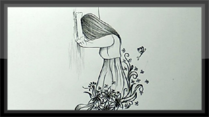 Best Pencil Sad Drawing Free Cool Pencil Drawing A Beautiful Sad Girl Picture Easy Pictures