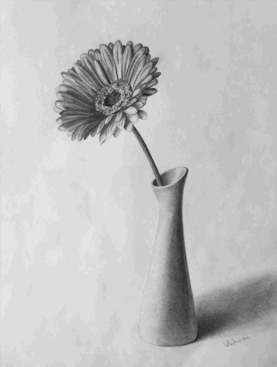 Best Pencil Shading Flower Vase Tutorial Realistic Flower Vase Drawing Photo