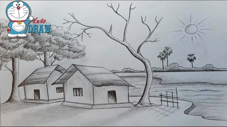Best Pencil Sketch For Kids Tutorials Indian Village Drawing Sketch For Kids Pencil Drawing Of Village Pictures