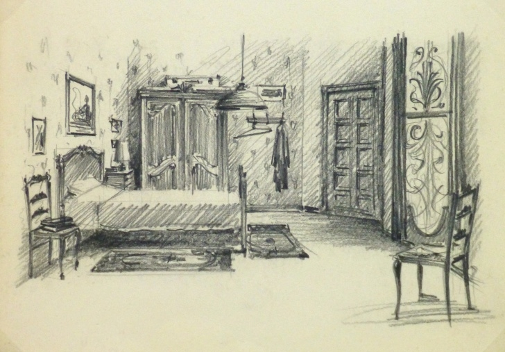 Pencil Sketch Of A Bedroom