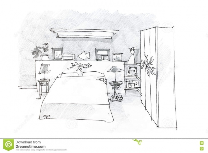 Best Pencil Sketch Of A Bedroom Tutorials Black And White Graphical Sketch Of Bedroom Drawn With Pencil Stock Image