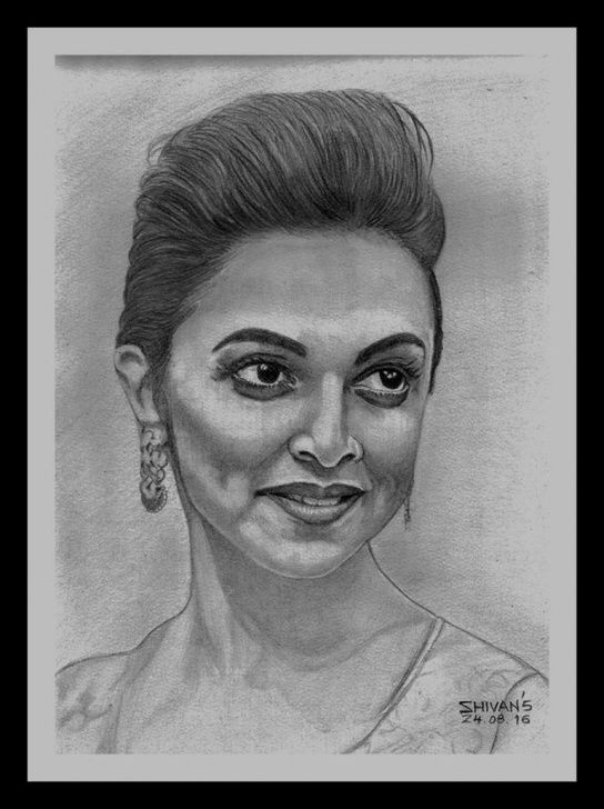 Best Pencil Sketch Of Famous Indian Personalities Tutorial Bollywood Actress Deepika Padukone Photo