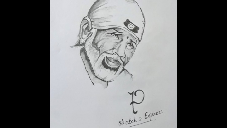 Best Pencil Sketch Of Sai Baba Simple Beautiful Video Of Sketch Making Of Sai Baba. Photo