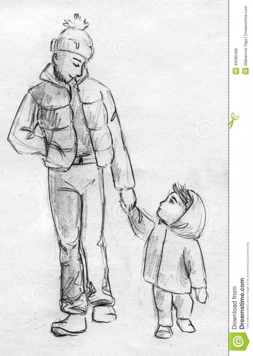 Best Pencil Sketches Of Father And Daughter Lessons Father And Child Walking - Pencil Sketch Stock Illustration Pic