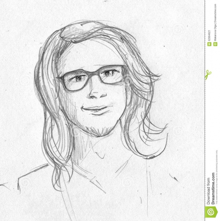 Best Pencil Sketches Of People Step by Step Nerdy Long Haired Man - Pencil Sketch Stock Illustration Photos