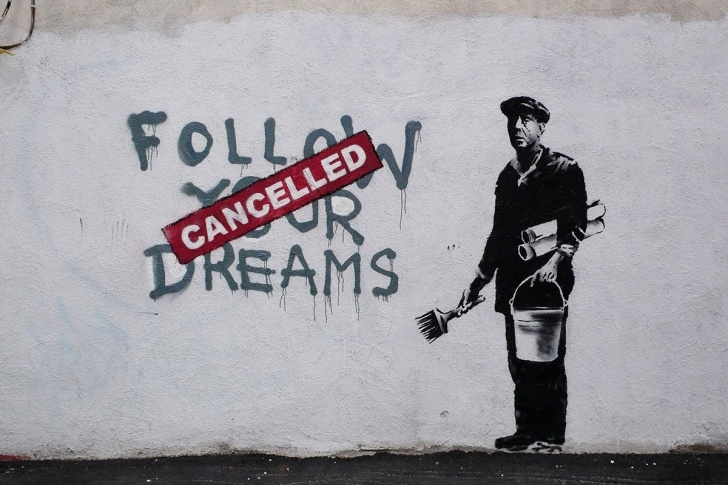 Best Political Stencil Art Free Dreams Slashed, Dashed In Banksy Stencil | Apictureofpolitics Image