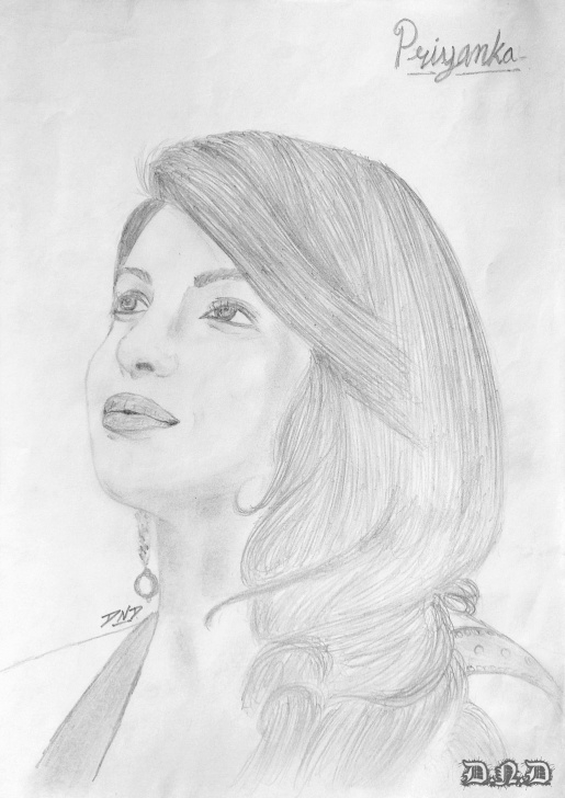 Priyanka Chopra Pencil Sketch