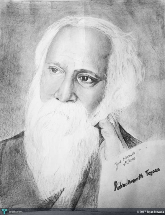 Best Rabindranath Tagore Pencil Sketch for Beginners Rabindranath Tagore Pencil Drawing | Touchtalent - For Everything Image