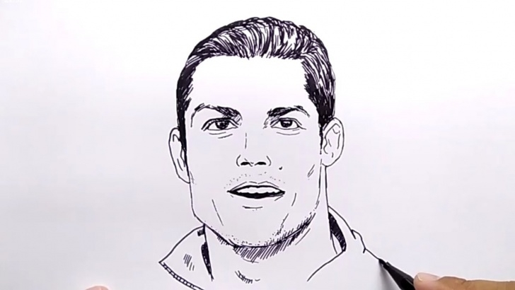 Best Ronaldo Pencil Drawing Step by Step Very Easy !, How To Draw Cr7 Ronaldo / No Pencil, No Eraser, / Tutorial  Step By Step Drawing Image