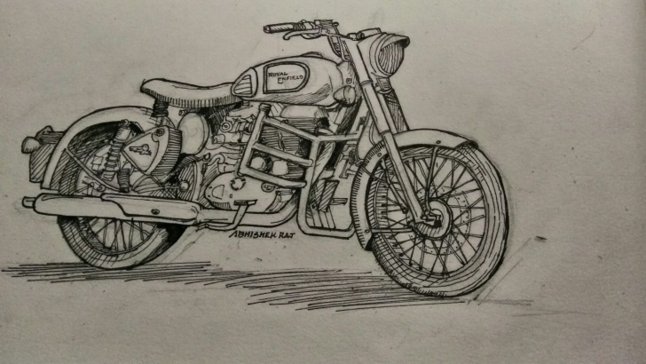 Best Royal Enfield Pencil Sketch Free Royal Enfeild Classic 350 Sketch | Art | Sketches, Art, Classic Images