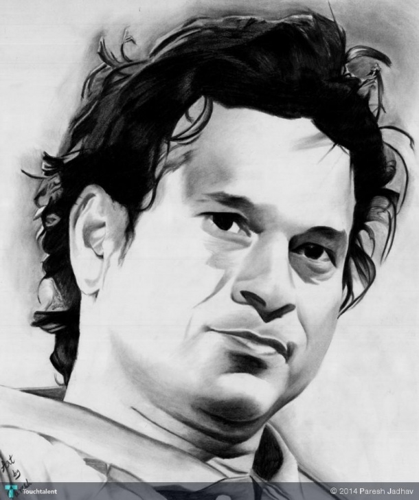 Best Sachin Tendulkar Pencil Sketch Tutorials Master Blaster Sachin Tendulkar | Touchtalent - For Everything Creative Pics