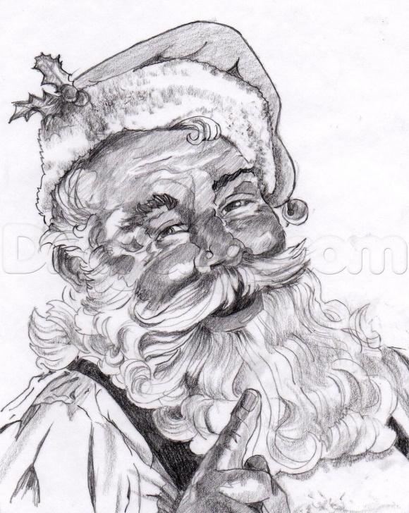 Best Santa Pencil Drawing Free How To Draw A Realistic Santa, Santa Claus Step 23 … | Santa Images