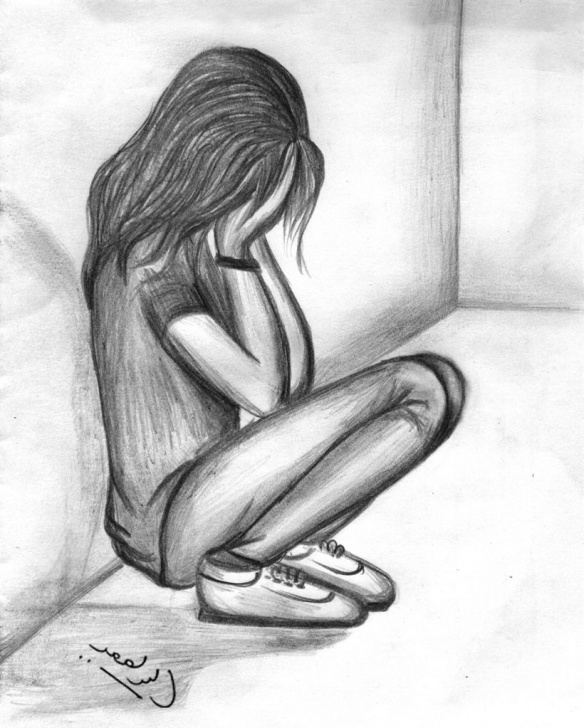 Best Simple Pencil Sketch Of Girl Easy Simple Pencil Sketches Of Lonely Sad Girl | Pla Pla In 2019 | Sad Pictures