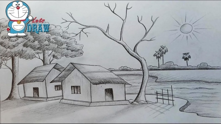 Simple Scenery Drawing Pencil