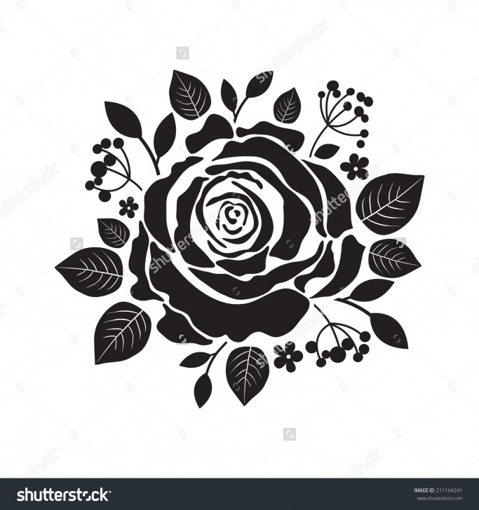 Best Stencil Art Rose Tutorial Vector Stencil Roses. Black Silhouette Of Rose With Leaves. | Roses Photos