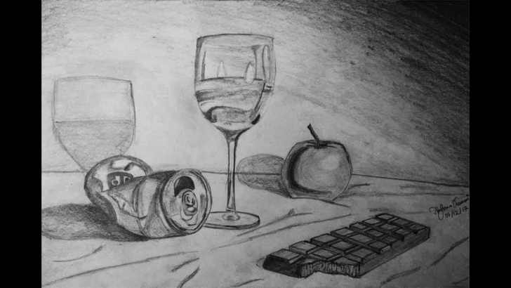 Best Still Life Sketch Drawing Simple How To Sketch | Still Life Pencil Drawing Pic