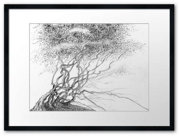 Best Tree Pencil Art Ideas Tree Pencil Drawing Art Print Forest Realistic Art Illustration Landscape  Hand Painted Grafics Homedecor Walldecor Original Traditional Art Photos