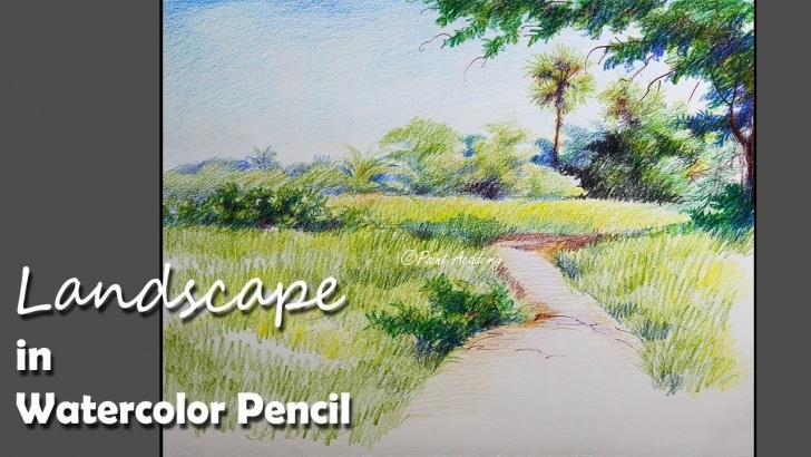 Best Watercolor Pencil Landscape Easy Landscape Painting In Watercolor Pencil | Step By Step Photo
