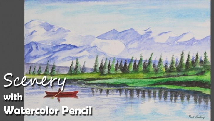 Best Watercolor Pencil Landscape Tutorials How To Paint A Mountain Scenery With Watercolor Pencil Pictures