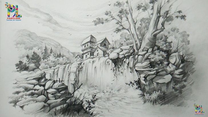 Best Waterfall Pencil Drawing Ideas How To Draw A Landscape With Waterfall With Pencil   Pencil Art Photos