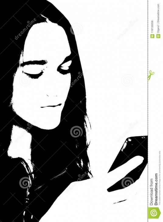Best Woman Stencil Art Step by Step Black And White Portrait Of Young Girl Stock Illustration Pic
