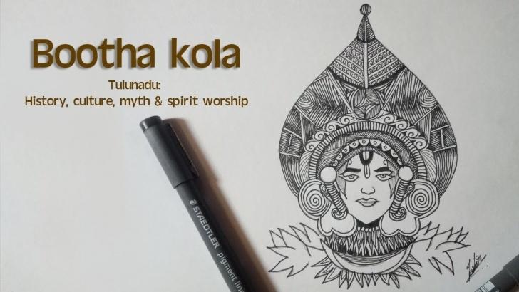 Best Yakshagana Pencil Sketch Simple Bootha Kola Line Art Pic