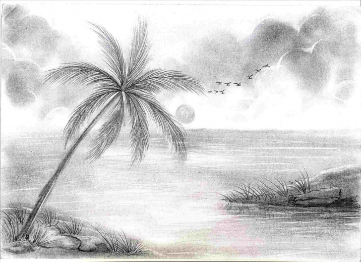 Excellent Beautiful Scenery Pencil Sketch Simple Photos Of Pencil Sketches Of Nature Scenery Picture