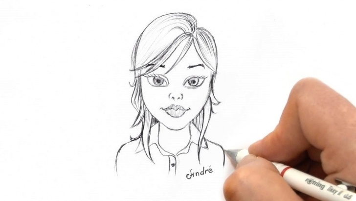 Excellent Cartoon Pencil Sketch Simple How To Sketch A Simple Face Of A Beautiful Girl Cartoon - Pencil Sketch For  Beginners Image
