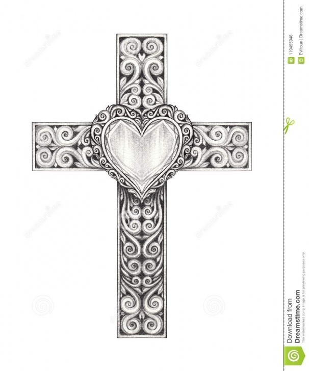 Excellent Cross Drawings In Pencil Free Art Heart Mix Vintage Cross. Stock Illustration - Illustration Of Pics