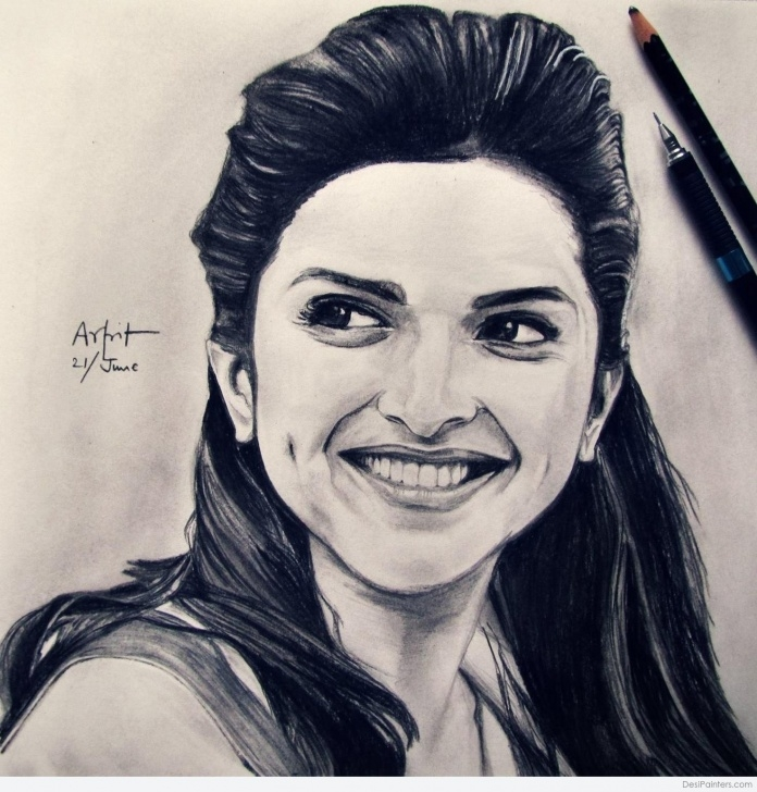 Excellent Deepika Padukone Pencil Drawing Tutorials Pencil Sketch Of Deepika Padukone | Desipainters Pic