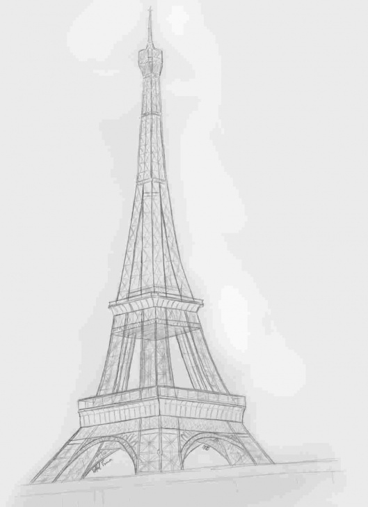 Excellent Eiffel Tower Pencil Drawing Free Sketch Easy Eiffel Tower Drawing Pics
