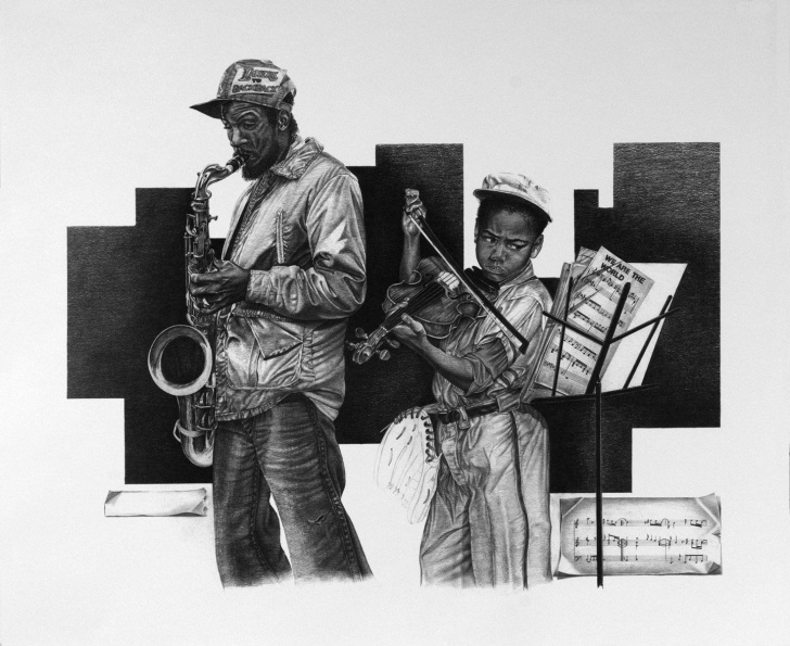 """Excellent Famous Pencil Artists Free Street Vendor"""" Pencil Drawing By Master Pencil Artist John Nelson Picture"""
