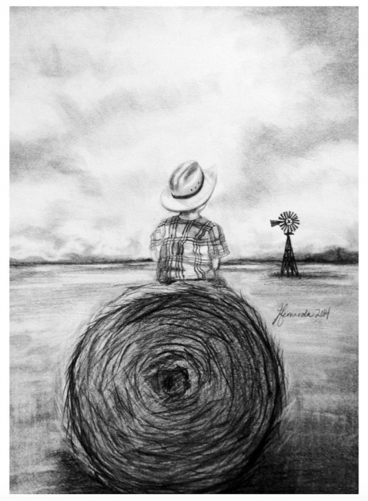 Excellent Farmer Pencil Drawing Tutorial Pencil Drawing Print - Farm Field Pics