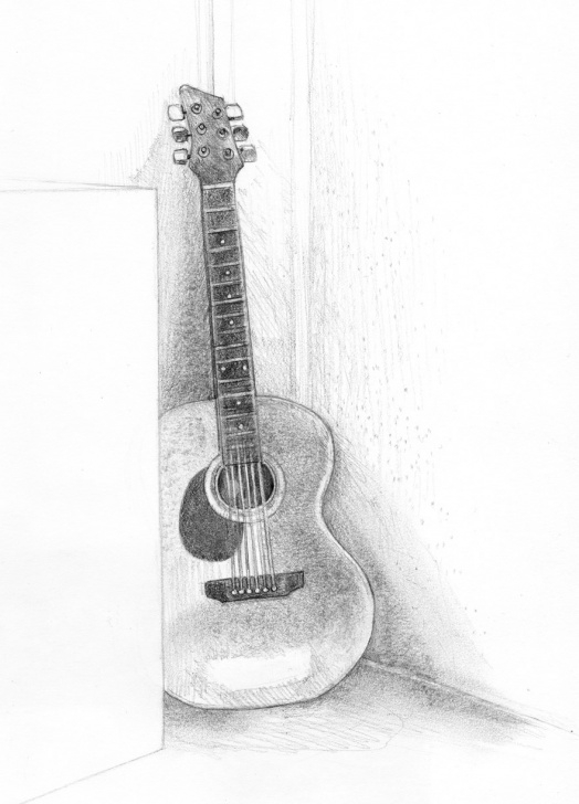 Excellent Guitar Pencil Drawing Techniques Guitars Sketch At Paintingvalley | Explore Collection Of Guitars Image