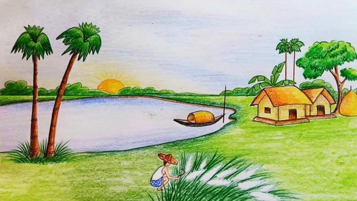 Excellent Images For Drawing Natural Scenary Easy Natural Scenery Of Bangladesh Wallpaper - Scenery Drawing For Class Pic