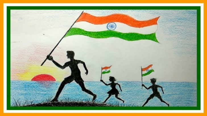 Excellent Independence Day Pencil Sketch Step by Step Happy Independence Day Celebration Pictures Drawing Ideas Pictures