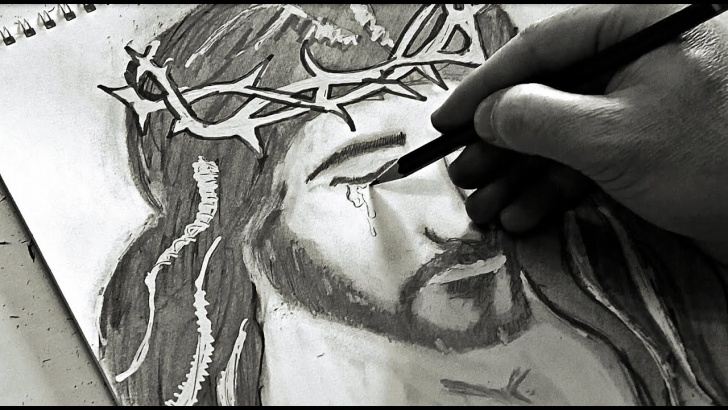 Excellent Jesus Pencil Drawing Step by Step Jesus Bloody Tears - Awesome Pencil Sketch Photo