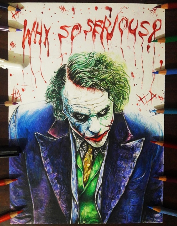 Excellent Joker Pencil Drawing Free Fan-Art/oc] The Joker ( Heath Ledger ) Color Pencil Drawing : Comics Pic